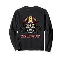 Washington Football Helmet Sugar Skull Day Of The Dead T Shirt Sweatshirt Black