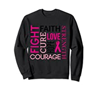 Pink Ribbon Breast Cancer Fighters Survivors Awareness Shirt T Shirt Sweatshirt Black