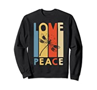 Love Peace Dragonfly Hippie Funny Shirts Sweatshirt Black