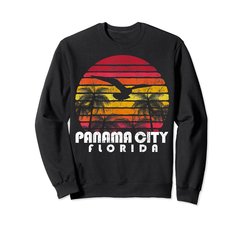 Vintage Retro Pa City Fl Florida Sunset Distressed Style T Shirt Crewneck Sweater