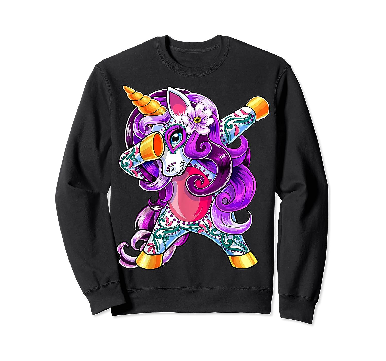 Dabbing Unicorn Day Of The Dead Halloween Girls Gift Shirts Crewneck Sweater