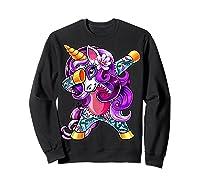 Dabbing Unicorn Day Of The Dead Halloween Girls Gift Shirts Sweatshirt Black