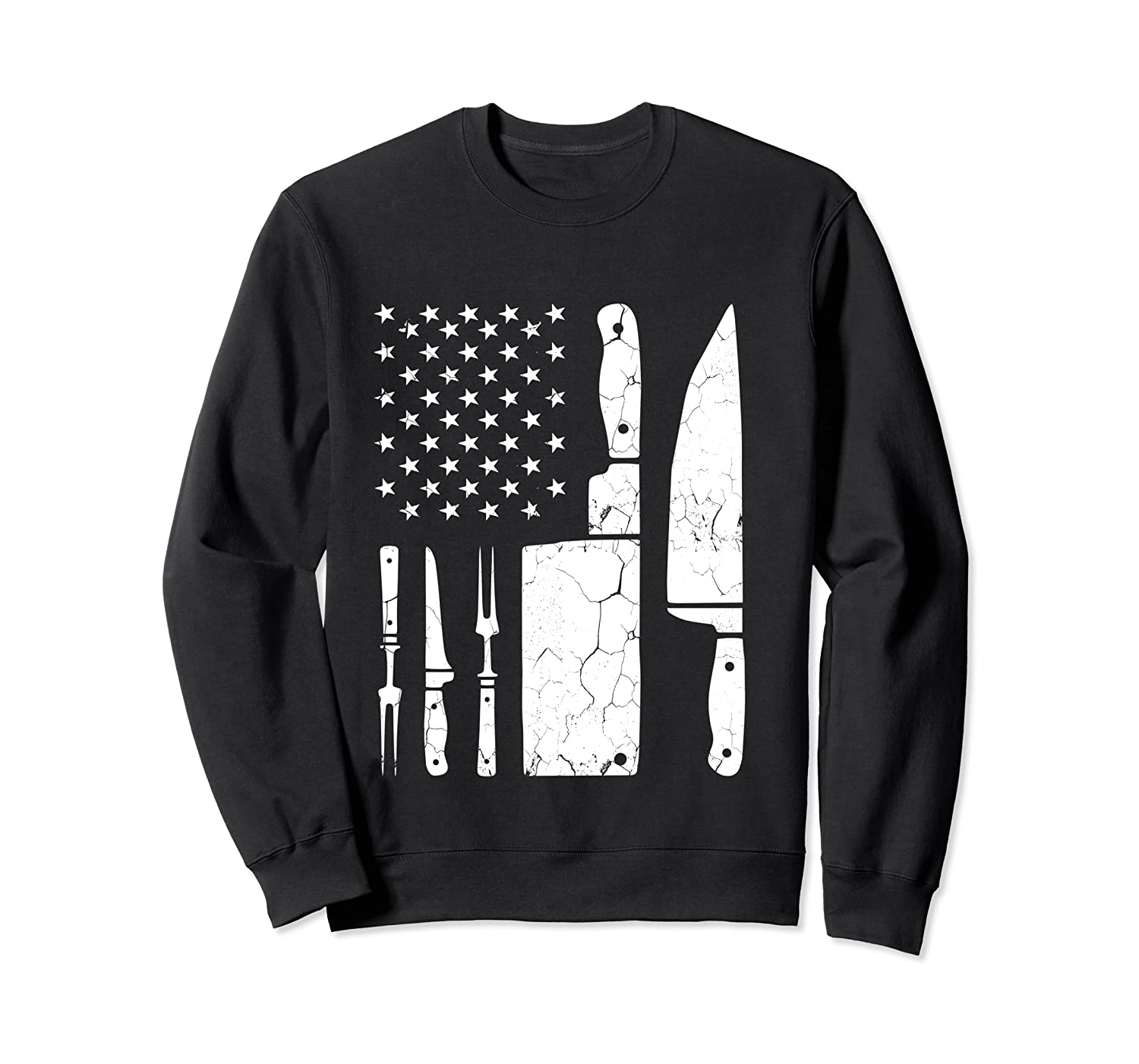Chef Cooking American Flag Vintage Culinary Chefs Gifts T Shirt Crewneck Sweater