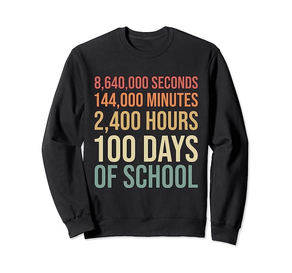 100th Day Preschool Kids Teacher Retro 100 Days Of School Sweatshirt Unisex Tshirt