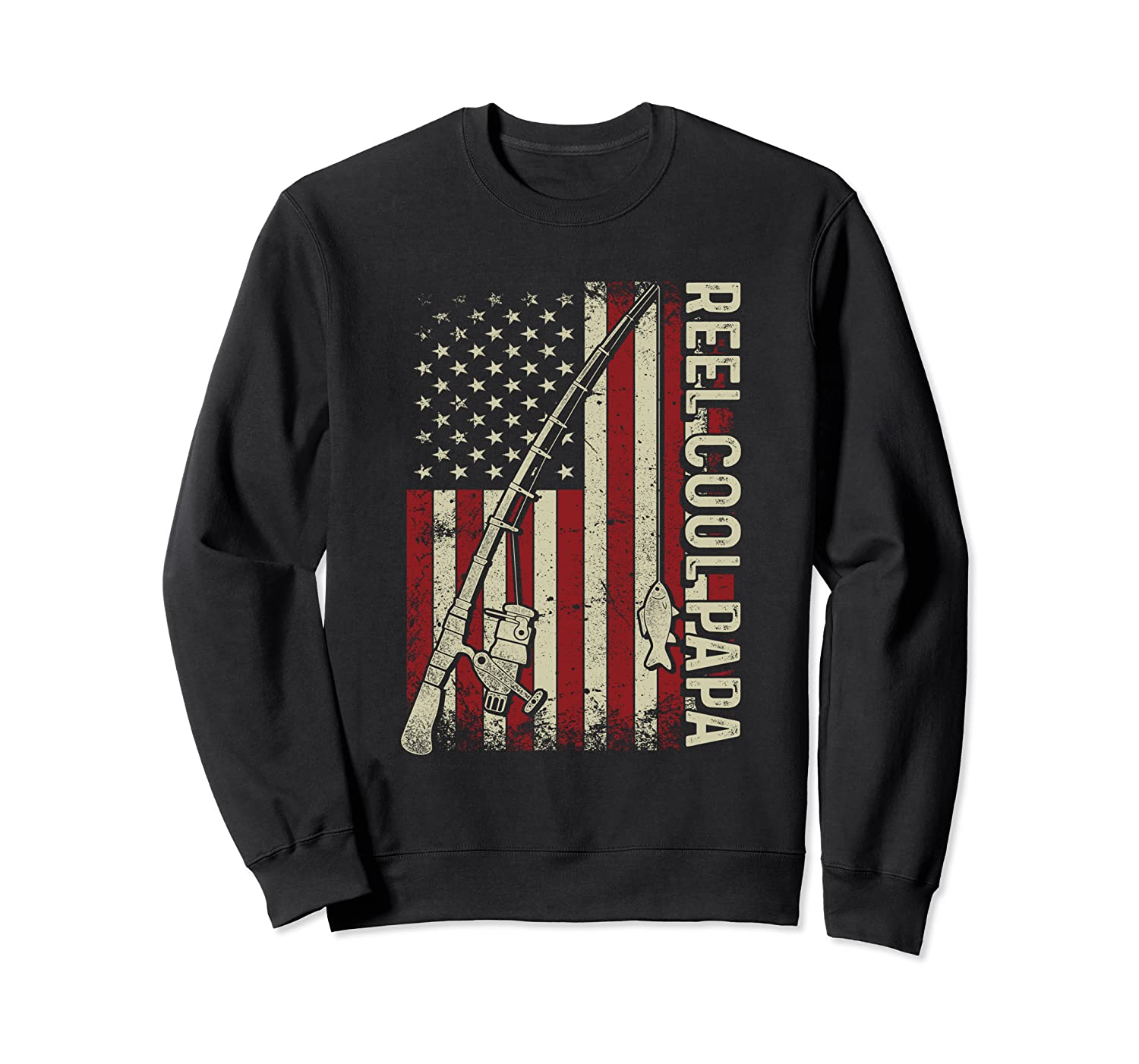 Reel Cool Papa American Flag Fishing Christmas T-Shirt Sweatshirt-TOZ