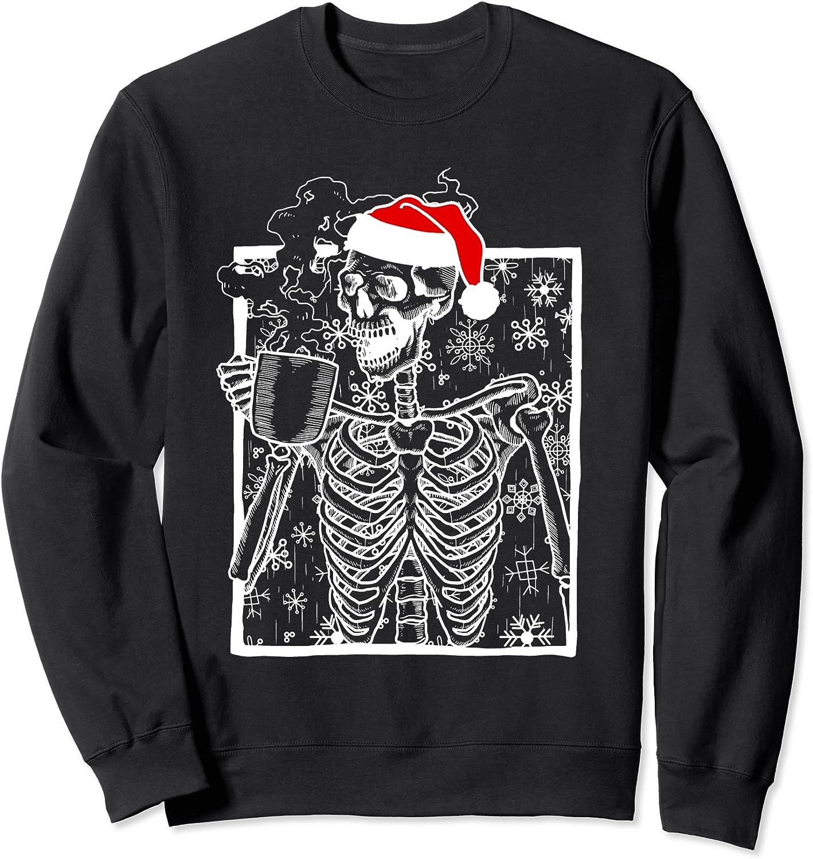 Christmas Skeleton All Nashville-Davidson Mall items free shipping with Smiling Skull Sweatshirt Coffee drinking