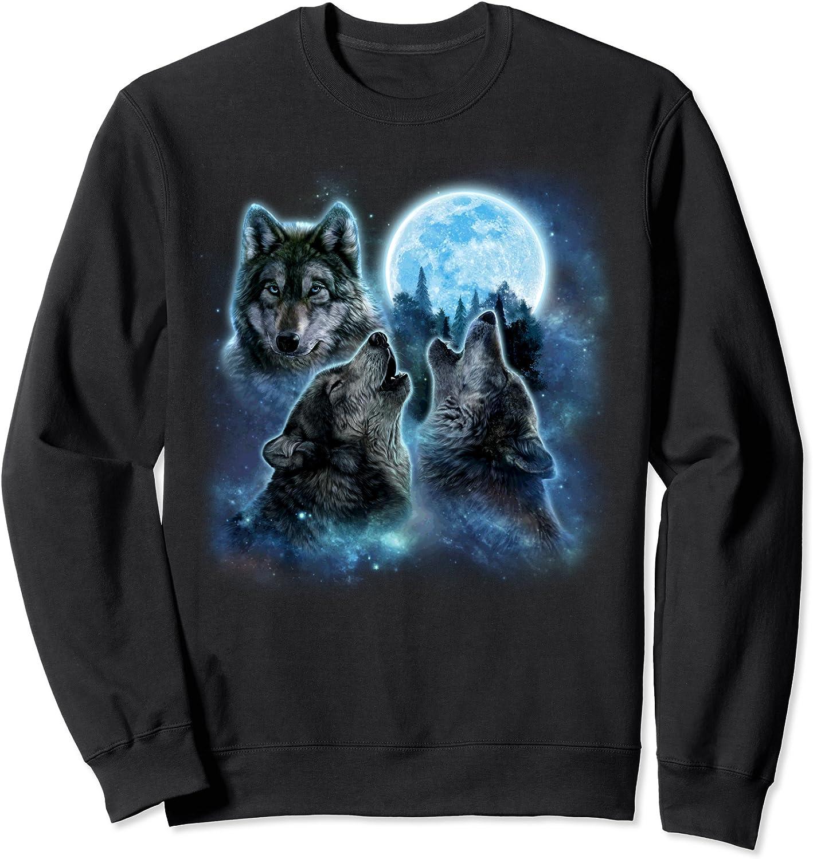 Amazon Com Three Wolves Howling And Moon Wolf Sweatshirt Clothing