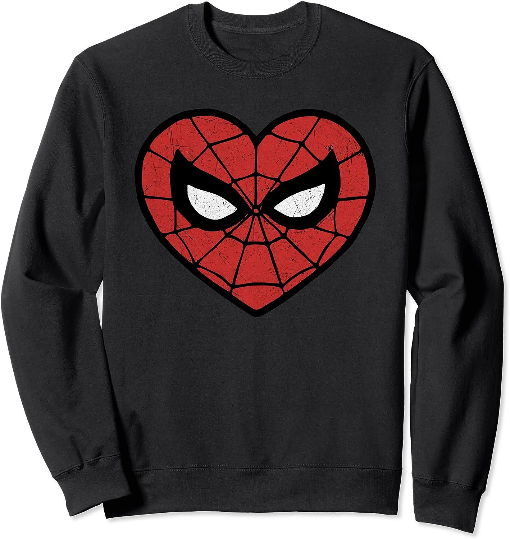 Marvel 返品不可 Spider-Man Valentine's 40%OFFの激安セール Web Sweatshirt Logo Heart Face