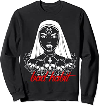 PENTAGRAM SKULL HOODIE Goth Gothic Pagan Magick Satan Satanic T-Shirt