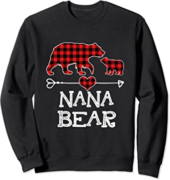 Nana Bear Red Plaid Matching Family Christmas Sweatshirt