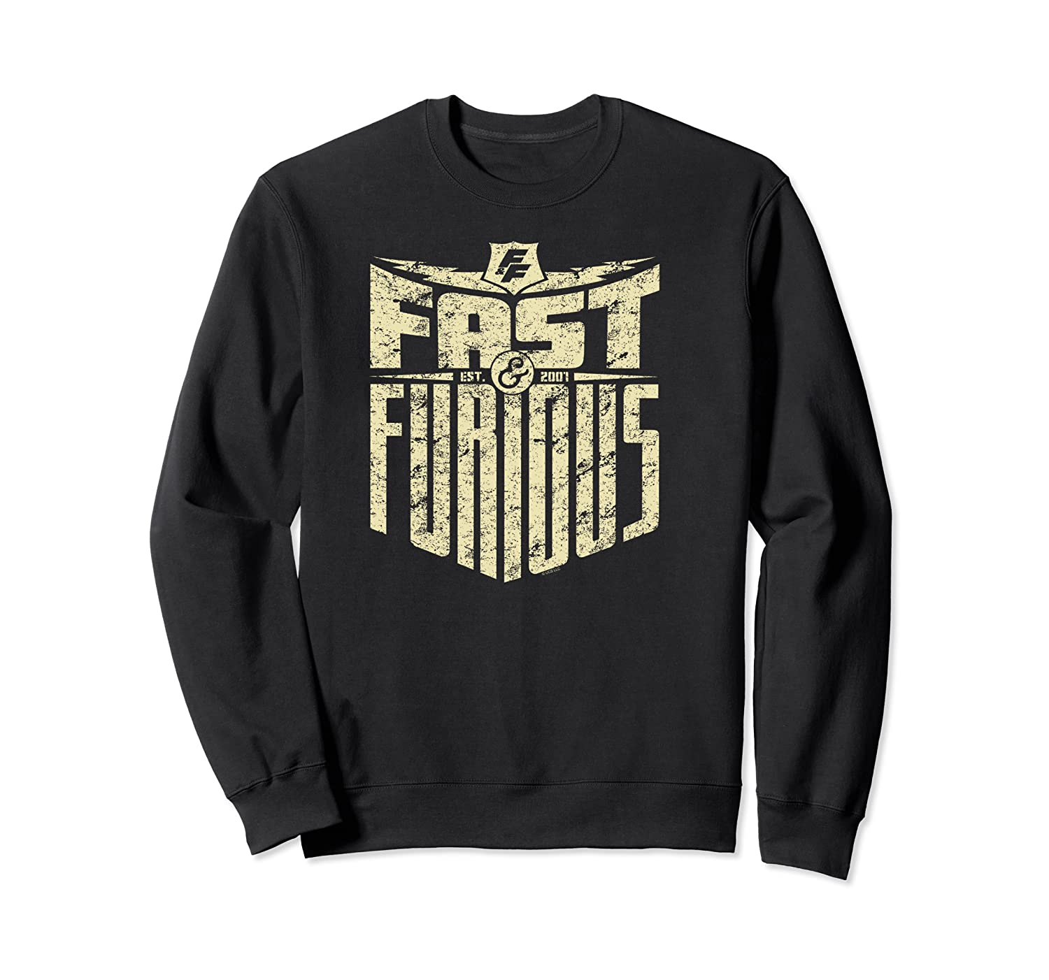 Fast Furious Distressed Lightning Bolt Word Stack Pullover Shirts Crewneck Sweater