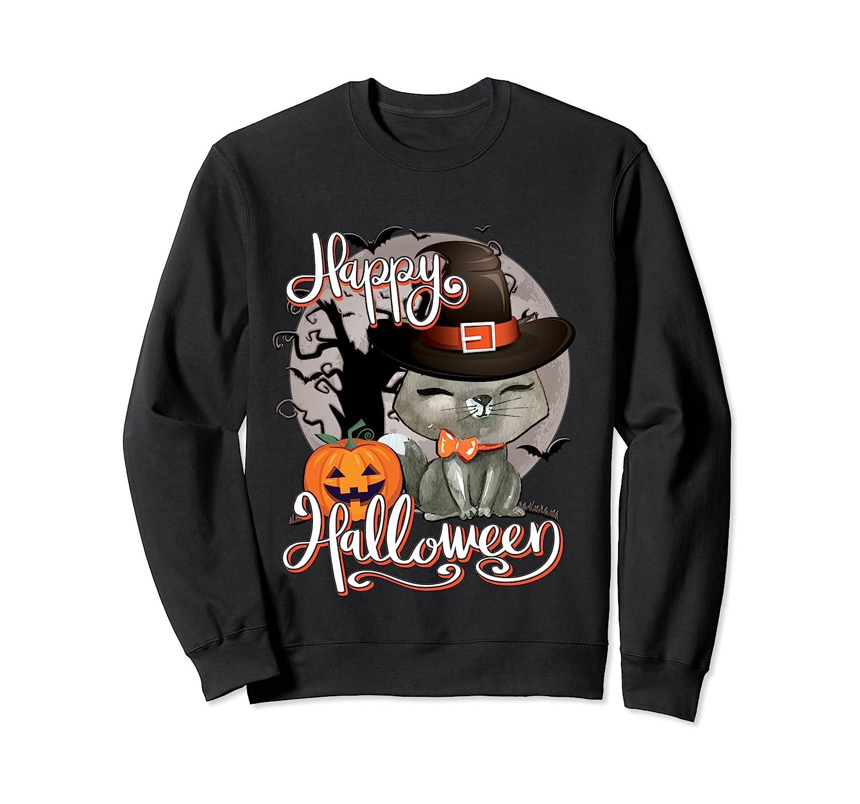 Happy Halloween Cute Cat In Witch Hat Pumpkin Spooky Novelty T Shirt Crewneck Sweater