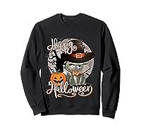 Happy Halloween Cute Cat In Witch Hat Pumpkin Spooky Novelty T Shirt Sweatshirt Black