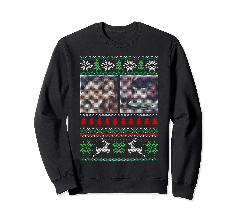 Woman Yelling at a Cat Meme Ugly Christmas Sweater Sweatshirt
