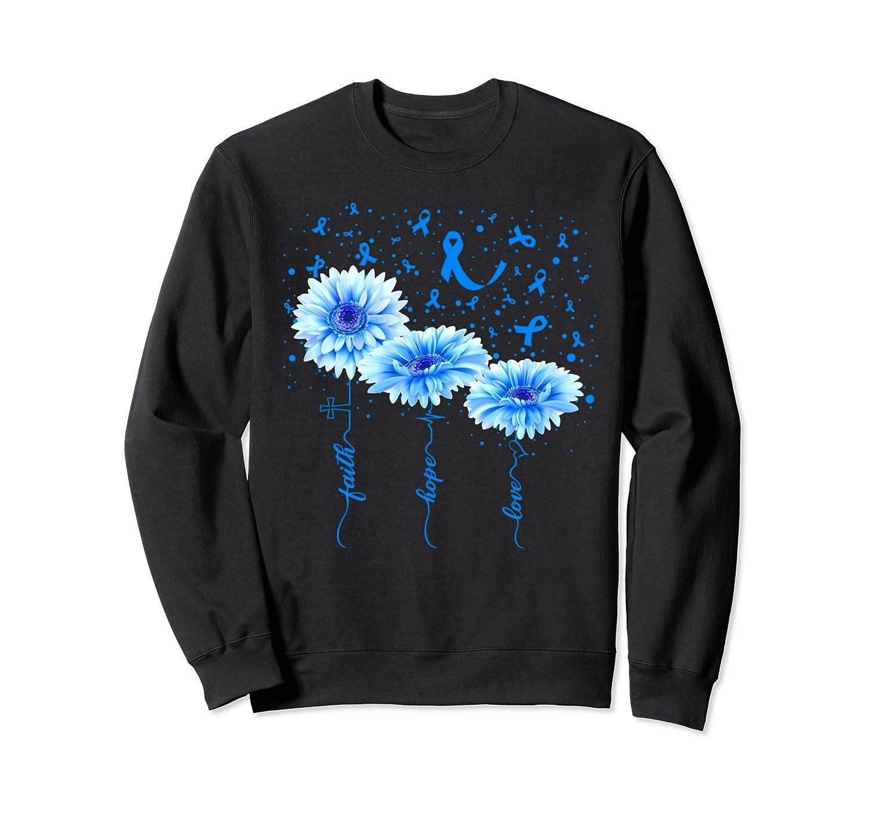 Faith Hope Love : Blue Daisy Flower BRONCHIECTASIS Awareness Sweatshirt