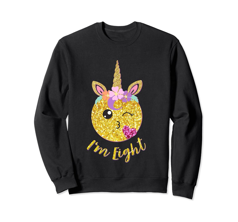 8th Birthday Emoticon Shirt Unicorn 8 Year Girl Sweet Face T-shirt Crewneck Sweater
