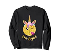 8th Birthday Emoticon Shirt Unicorn 8 Year Girl Sweet Face T-shirt Sweatshirt Black