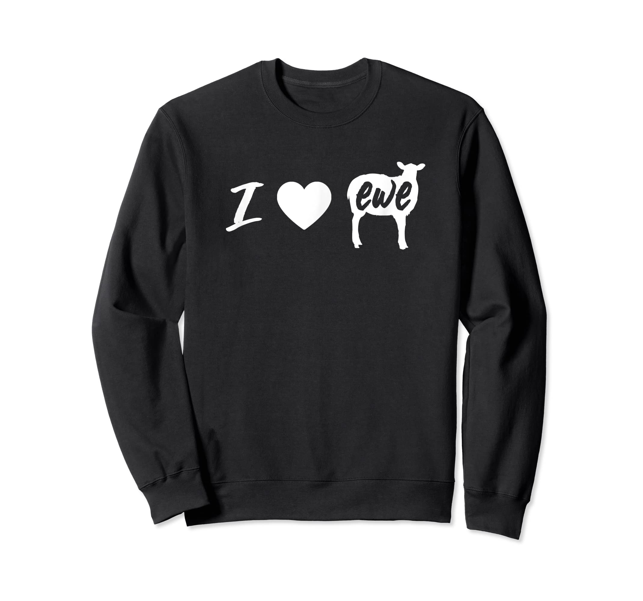 I Love Ewe - I Love You Sheep Pun Shirt-Sweatshirt-Black