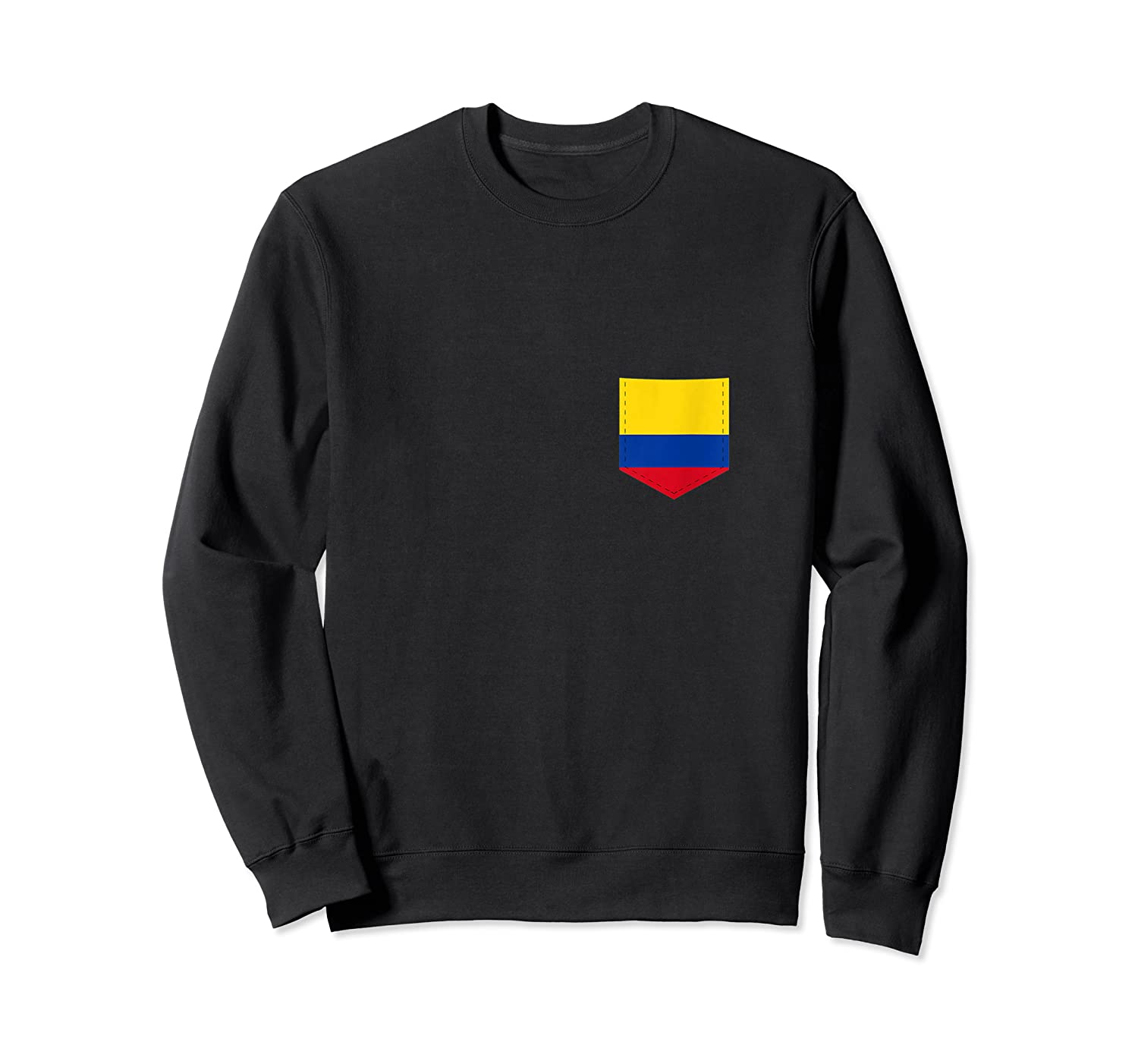 Colombia Flag Design With Printed Colombian Flag Pocket Tank Top Shirts Crewneck Sweater