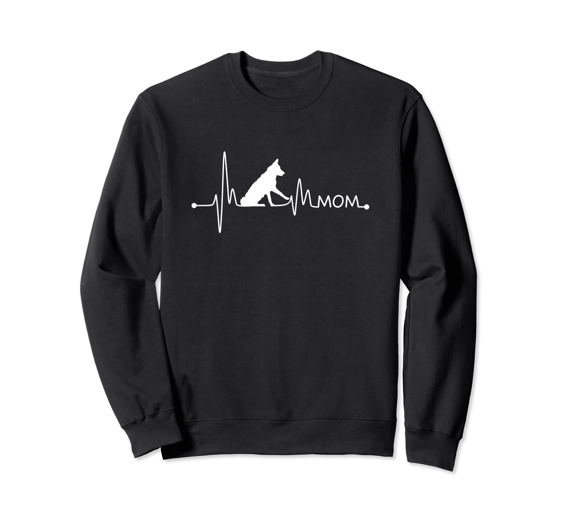 Womens Border Collie Heartbeat Mom Shirt Ekg Pulse Collie Lover Tee-Sweatshirt-Black