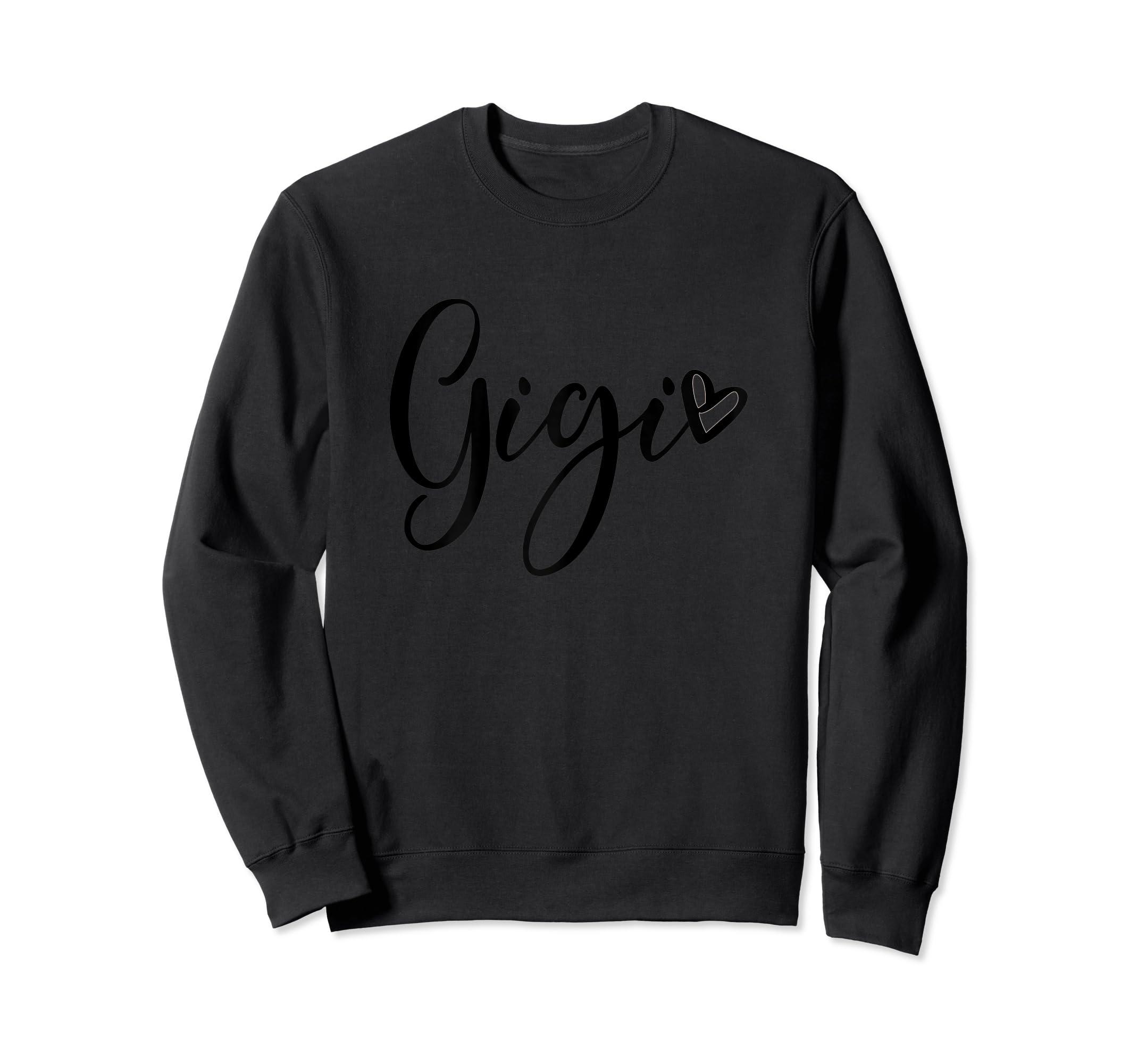 Womens Gigi Grandma T Shirt Pregnancy Announcement Mother's Day-Sweatshirt-Black