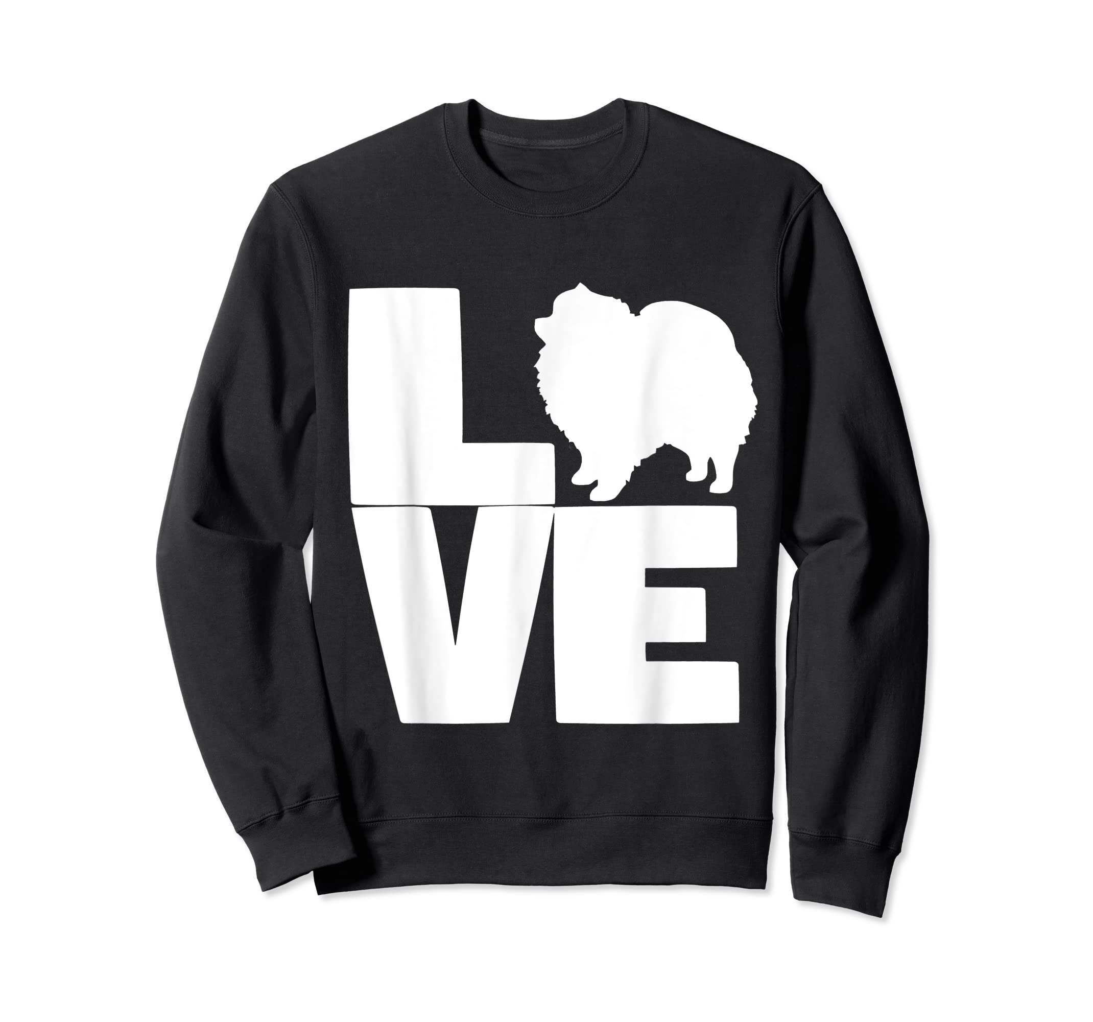 I Love Pomeranians Pom Mom or Dad Pet Lover T Shirt-Sweatshirt-Black