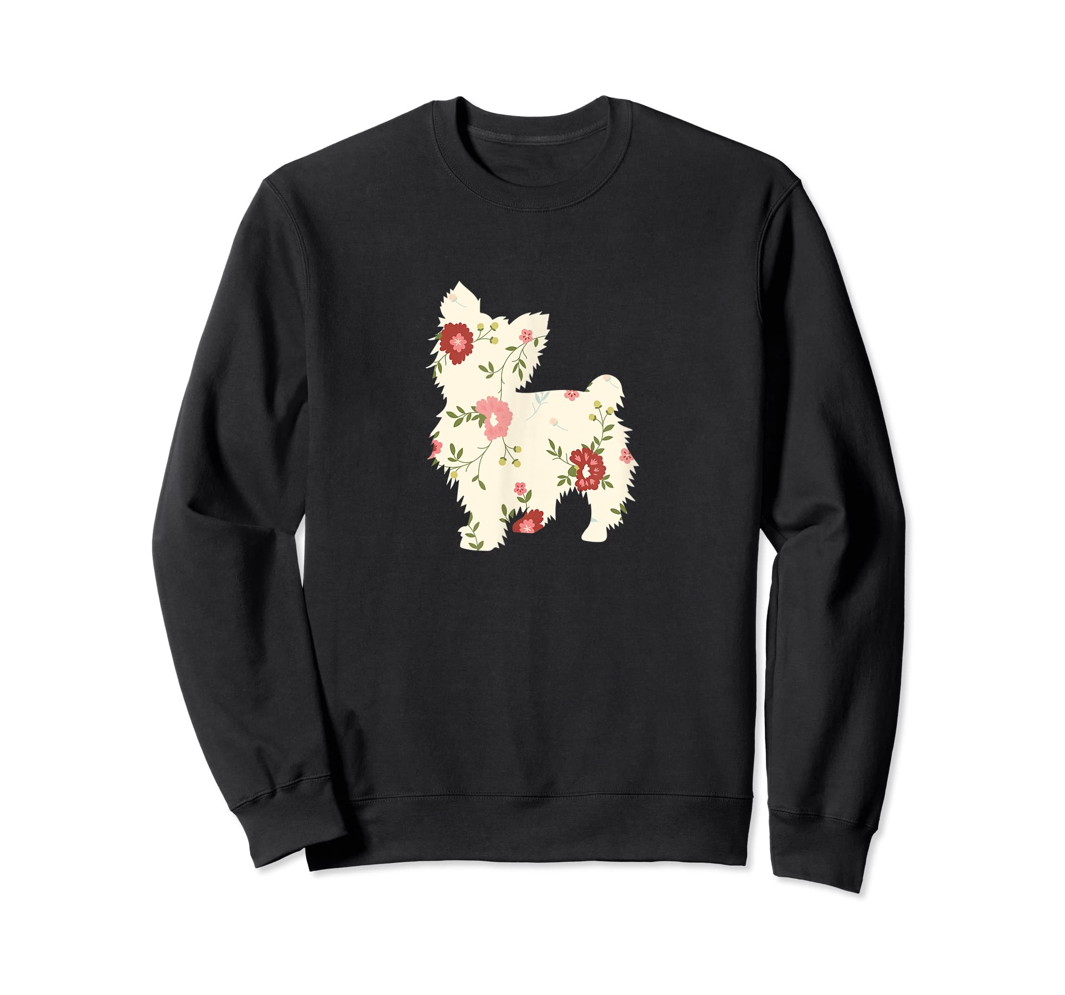 Yorkshire terrier Floral Vintage Dog Flower T-Shirt Gift Mom-Sweatshirt-Black