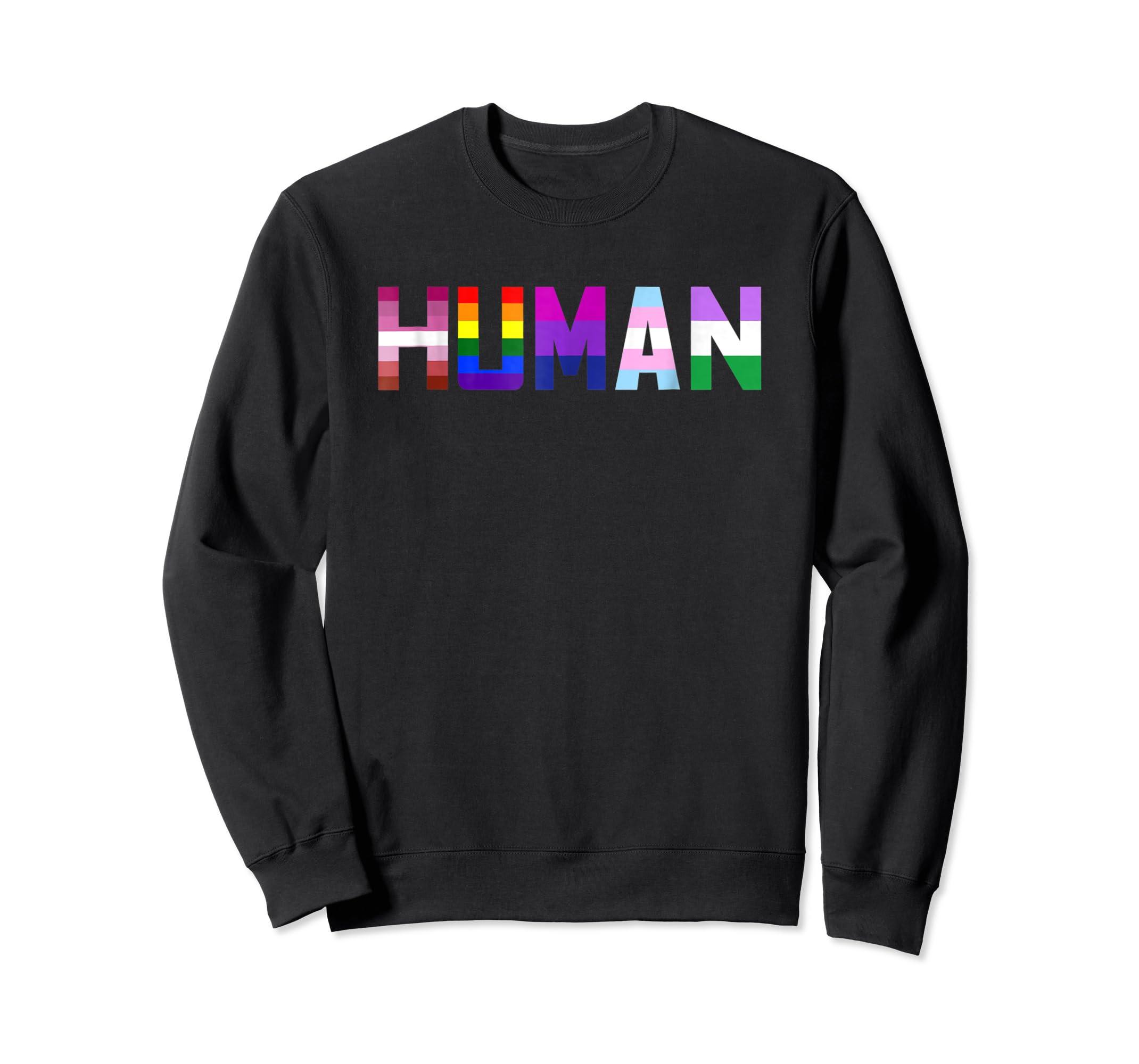 HUMAN Flag LGBT Gay Pride Month Transgender Ally T Shirt-Sweatshirt-Black
