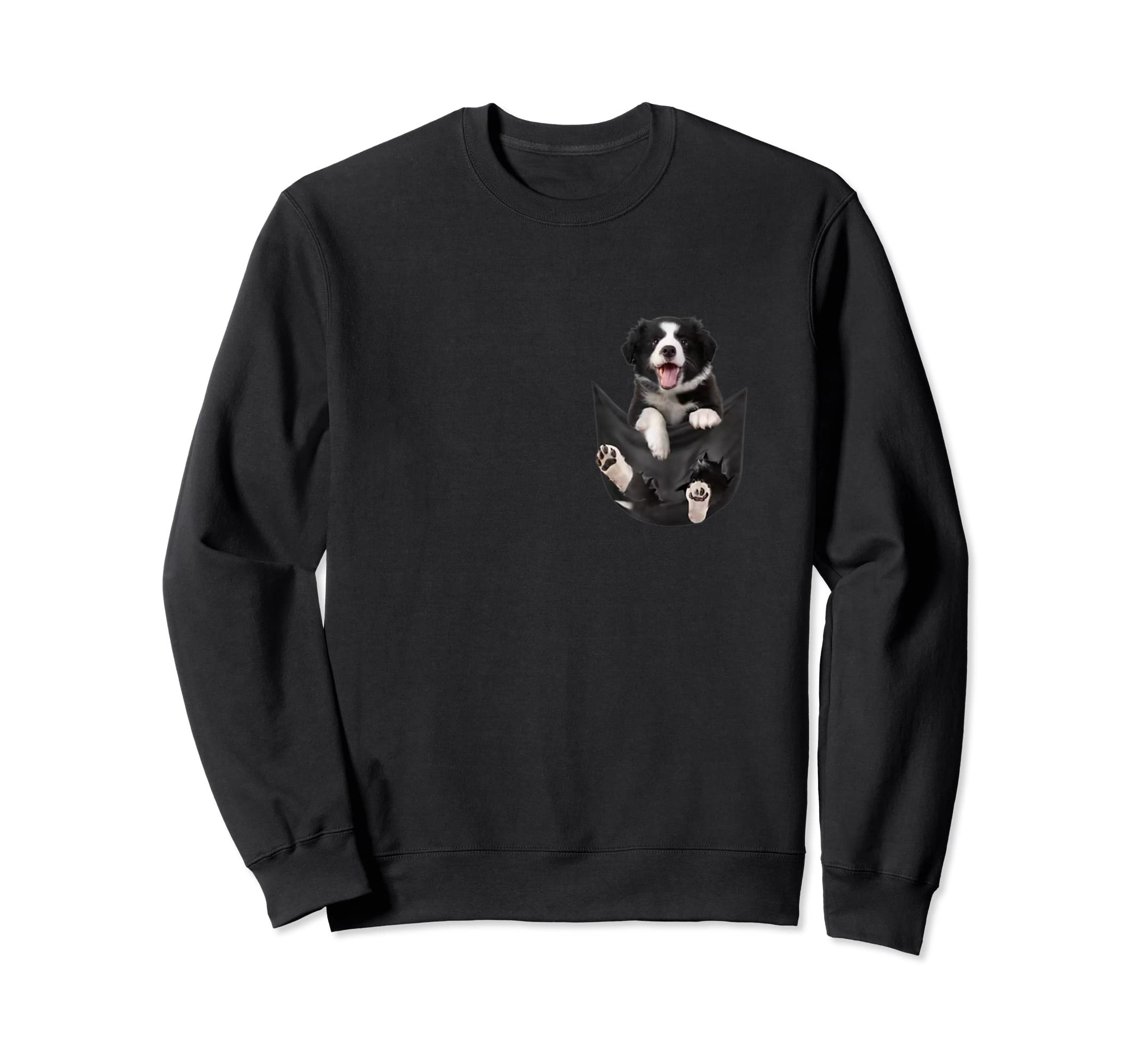 Border Collies Inside In Pocket Dog Lover T shirt Funny Cute-Sweatshirt-Black