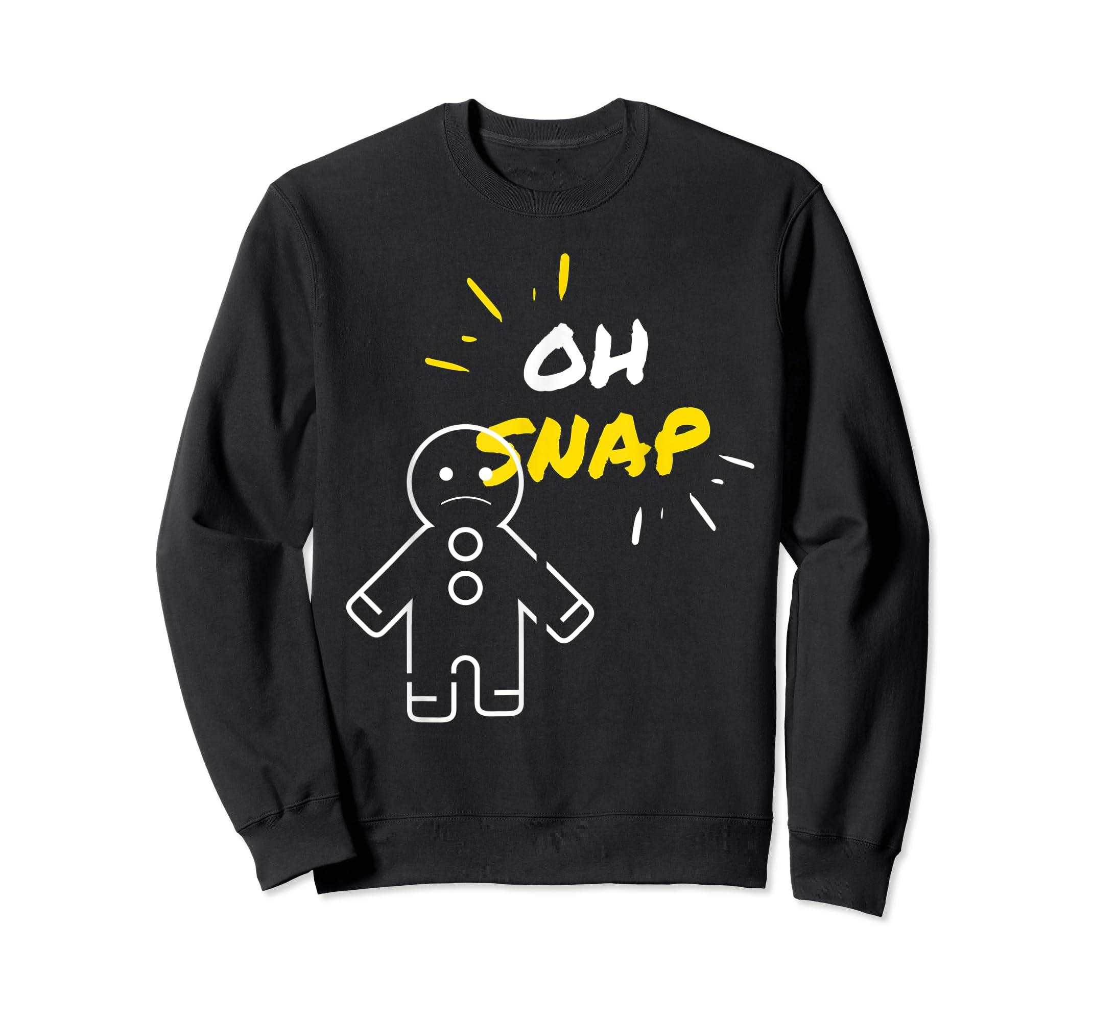 Oh Snap Christmas Gingerbread Man Holiday Cookies Funny T-Shirt-Sweatshirt-Black