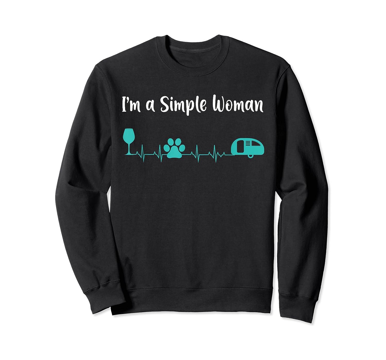 Im A Simple Woman Wine Dog Camping Heartbeat Shirts Crewneck Sweater