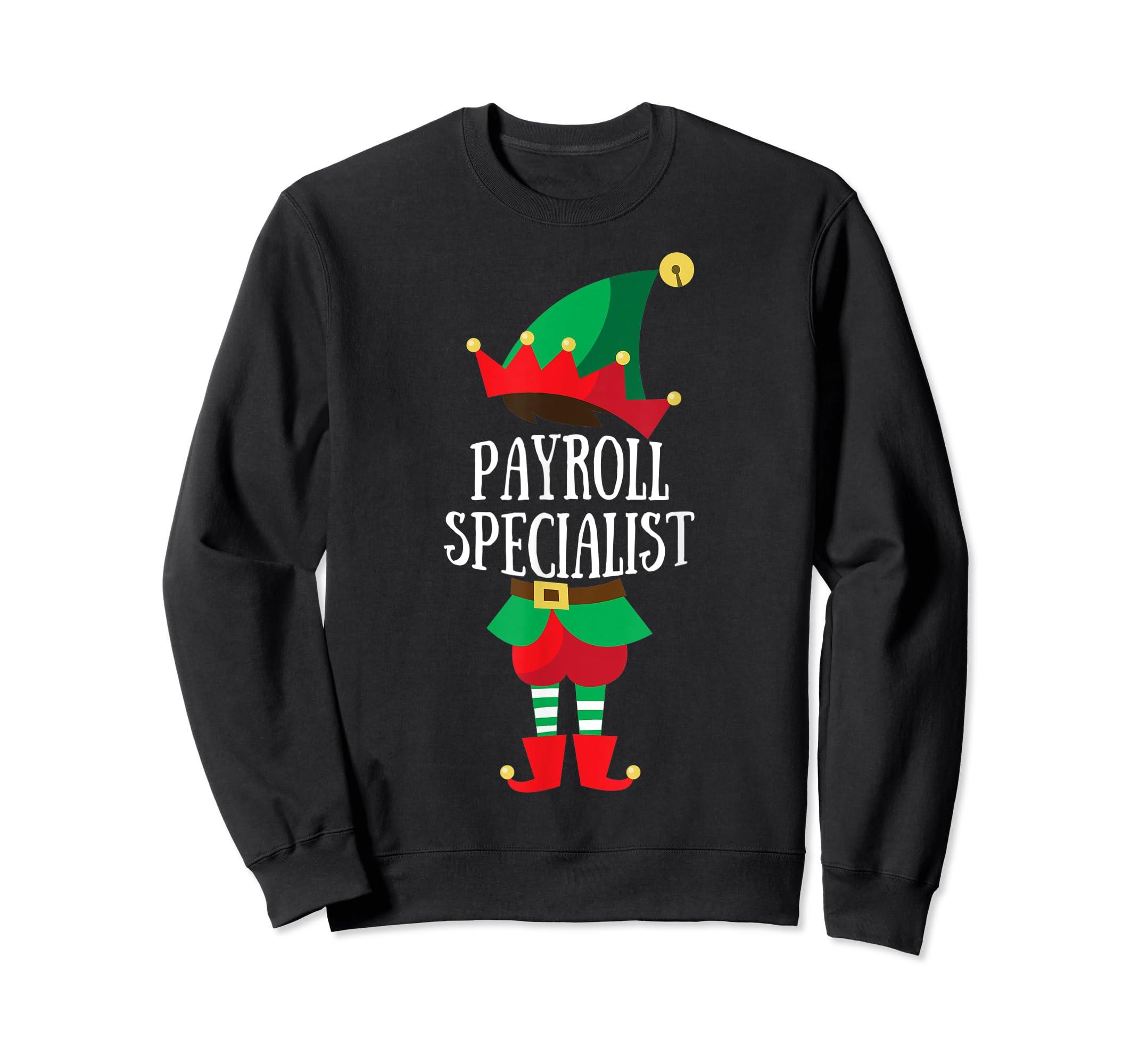 Elf Payroll Specialist Christmas Group Matching T-Shirt-Sweatshirt-Black