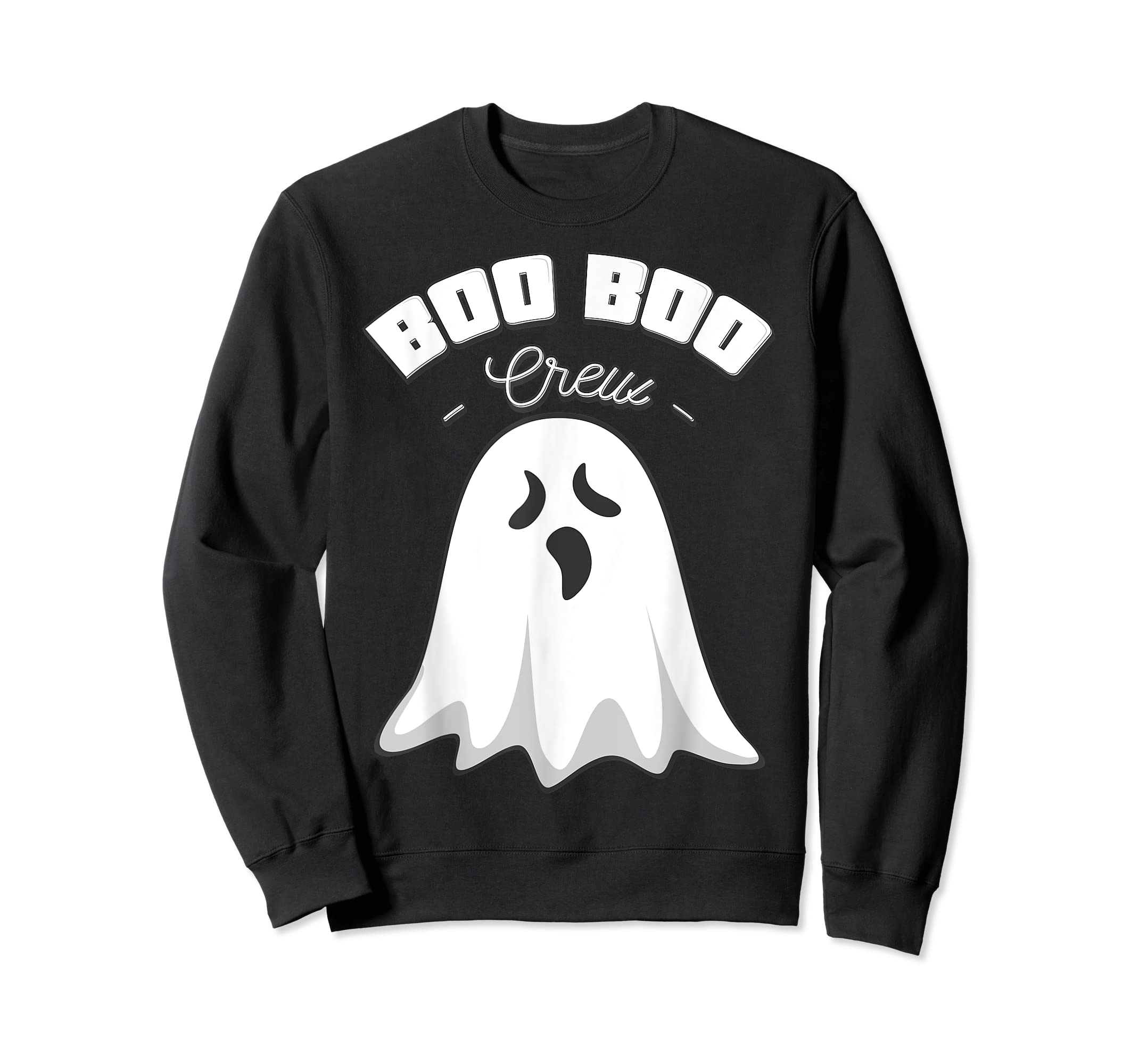 Boo Boo Crew Ghost Funny Halloween Black and Orange Night  T-Shirt-Sweatshirt-Black