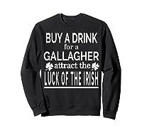 Gallagher Luck Of The Irish Namesake Family Gift T Shirt Sweatshirt Black