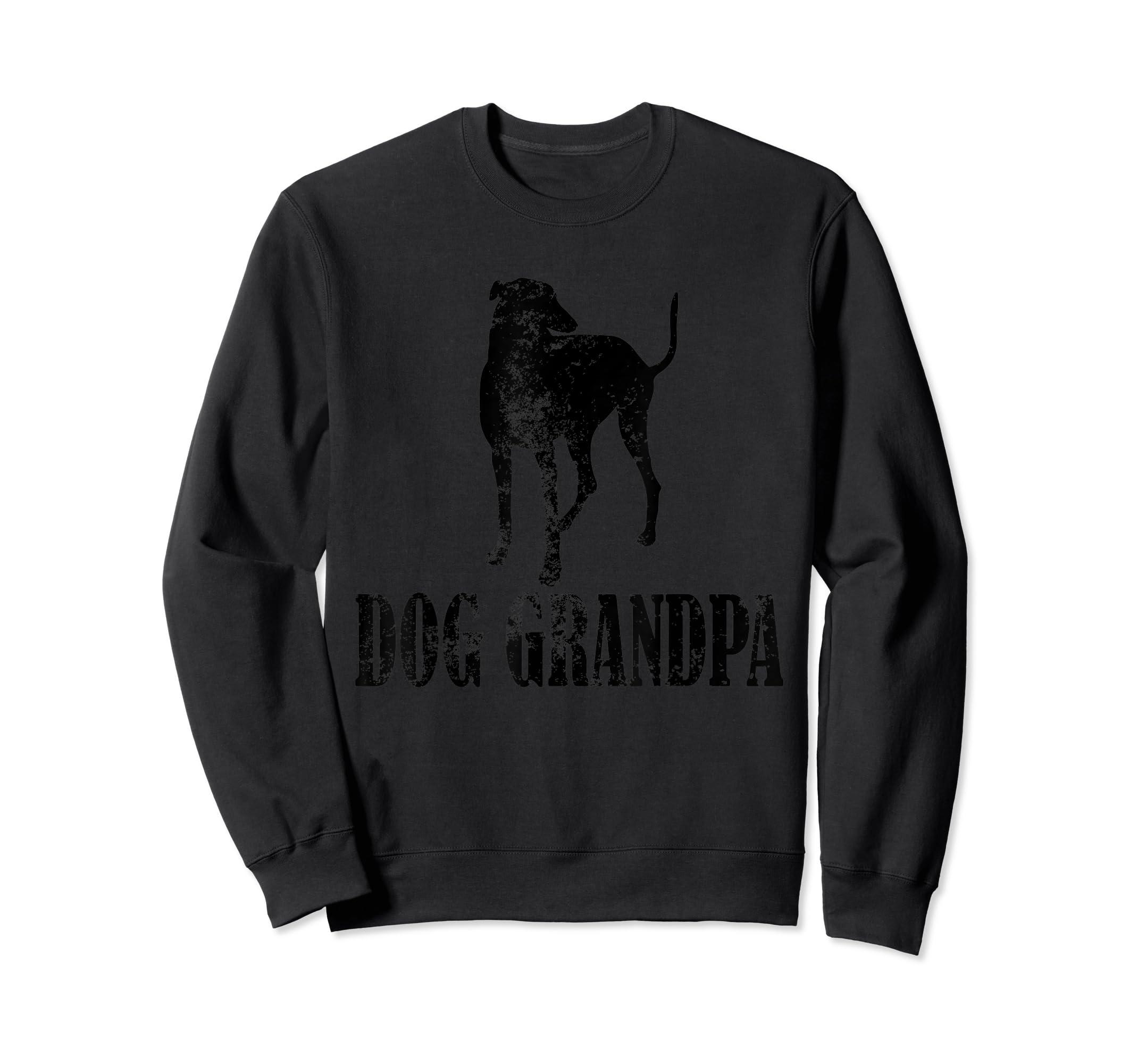Father's Day T Shirt Greyhound Dog Grandpa T-Shirt Gifts-Sweatshirt-Black