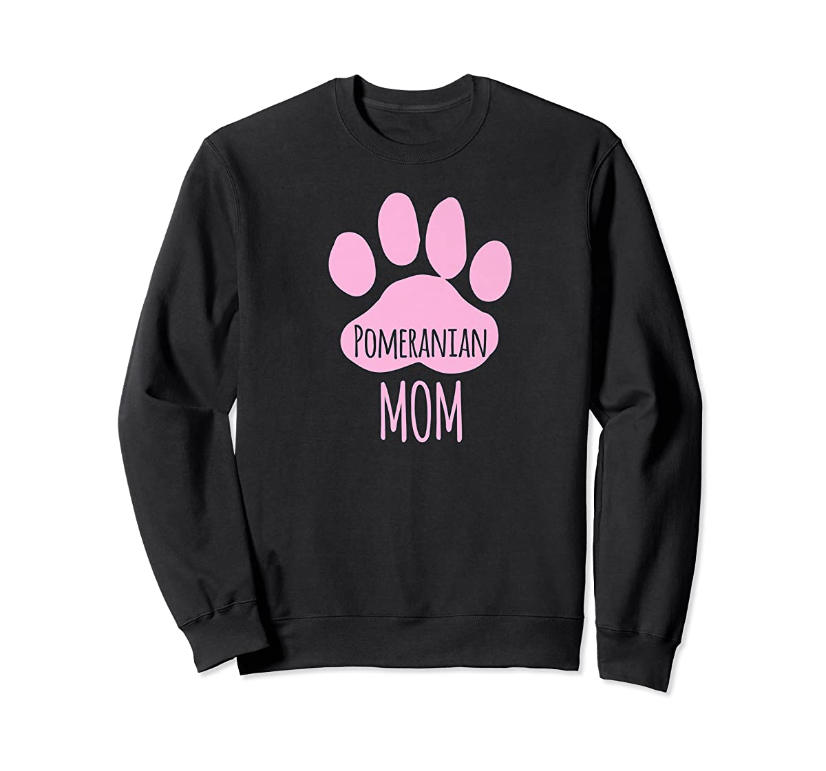 Cute Pomeranian Mom T Shirt for Pom Owner Dog Paw Pink-Sweatshirt-Black