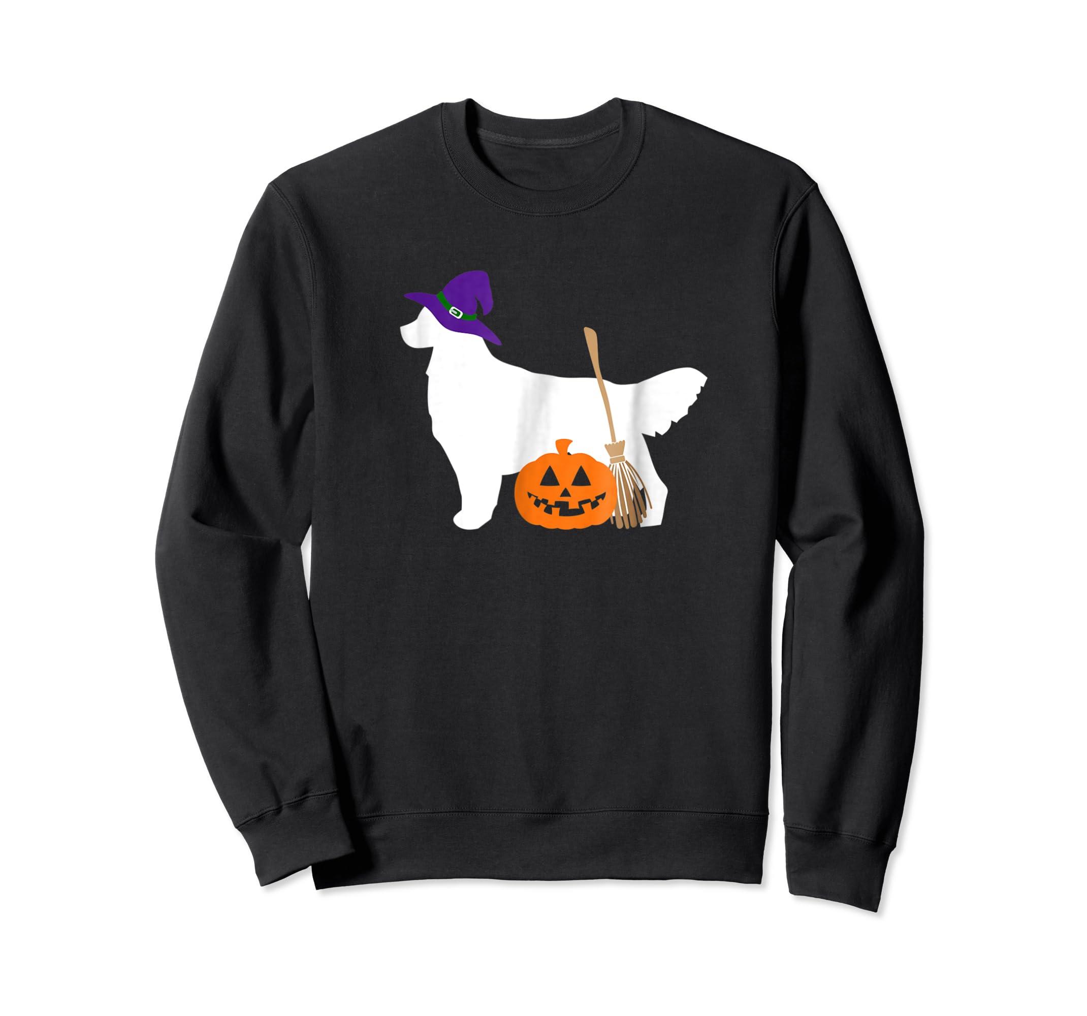 Golden Retriever Witch Hat Halloween Dog T-Shirt-Sweatshirt-Black