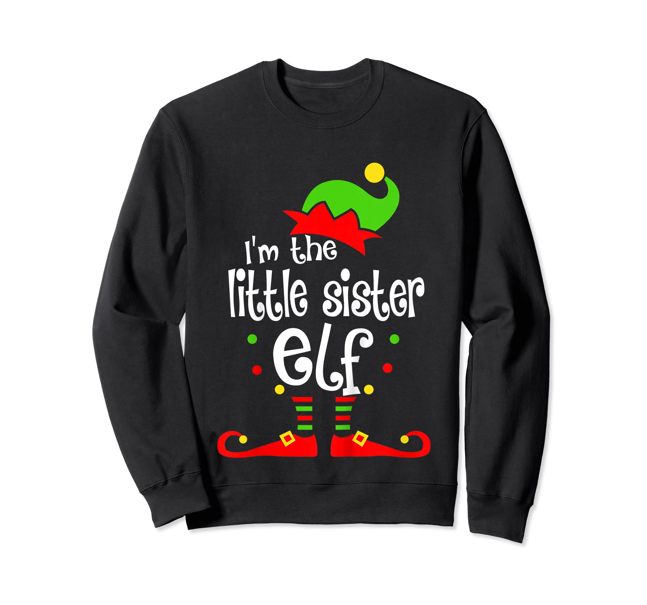 Kids Little Sister Elf Christmas Costume Outfit Xmas Gift T-Shirt-Sweatshirt-Black