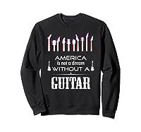 Patriot Guitarist T Shirt America Flag Guitar Sweatshirt Black