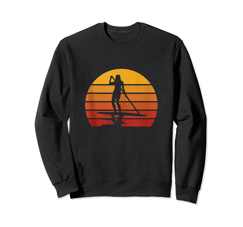 Stand Up Paddling Sup Vintage Sunset Paddle Board Gift Shirts Crewneck Sweater