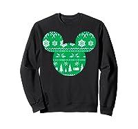 Disney Mickey Christmas Snowflakes T Shirt Sweatshirt Black