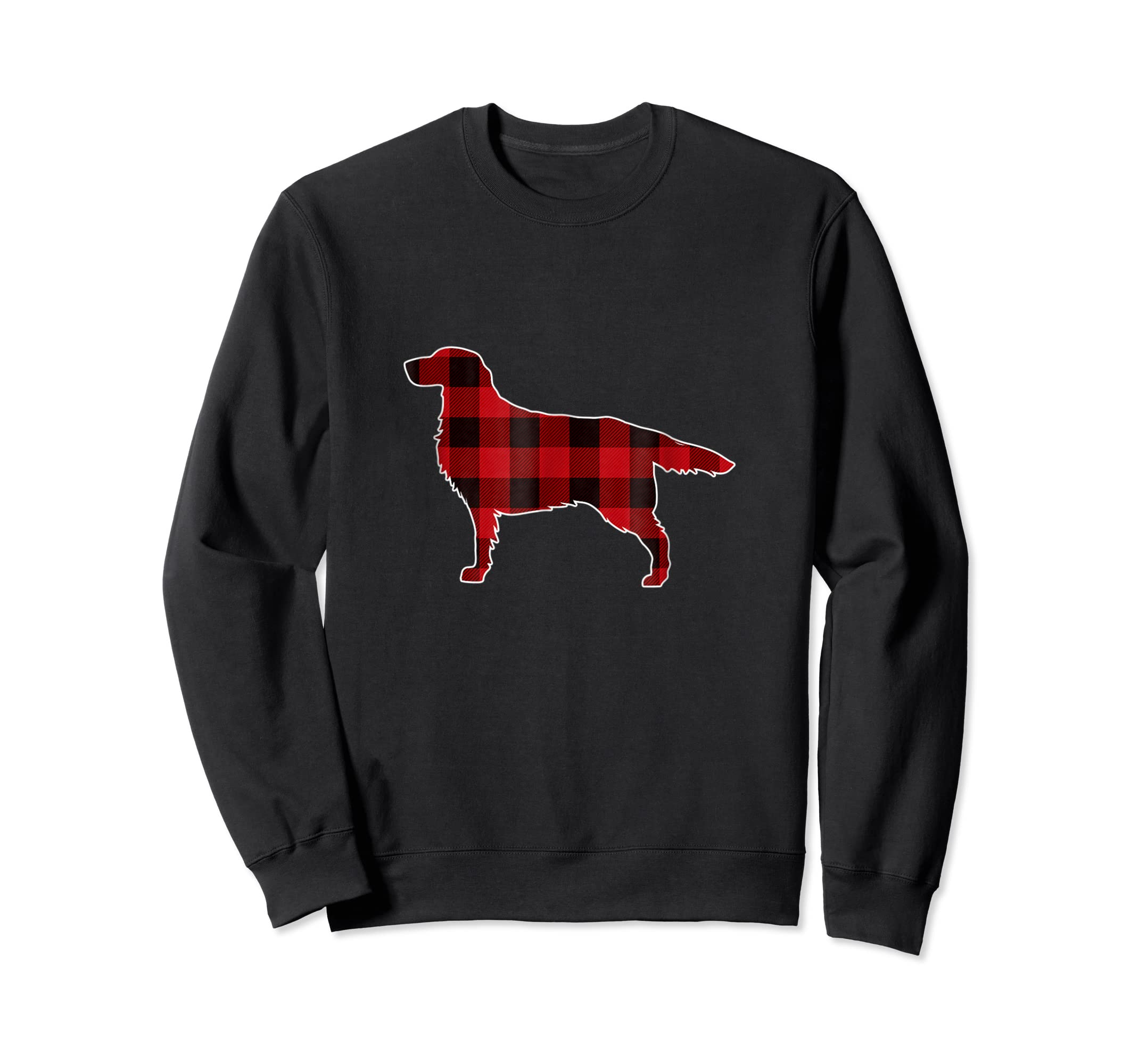 Golden Retriever Christmas T-Shirt Dog Buffalo Plaid Tee-Sweatshirt-Black