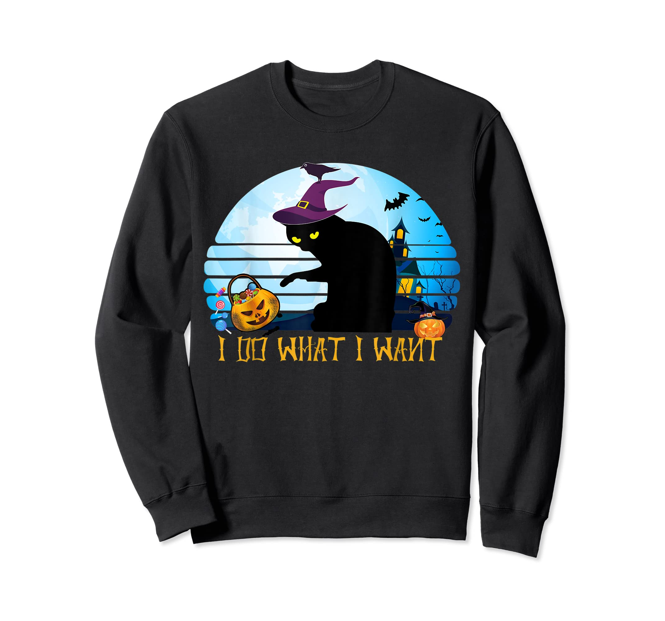 I Do What I Want Black Cat Tshirt Halloween Gift Cat Lovers-Sweatshirt-Black