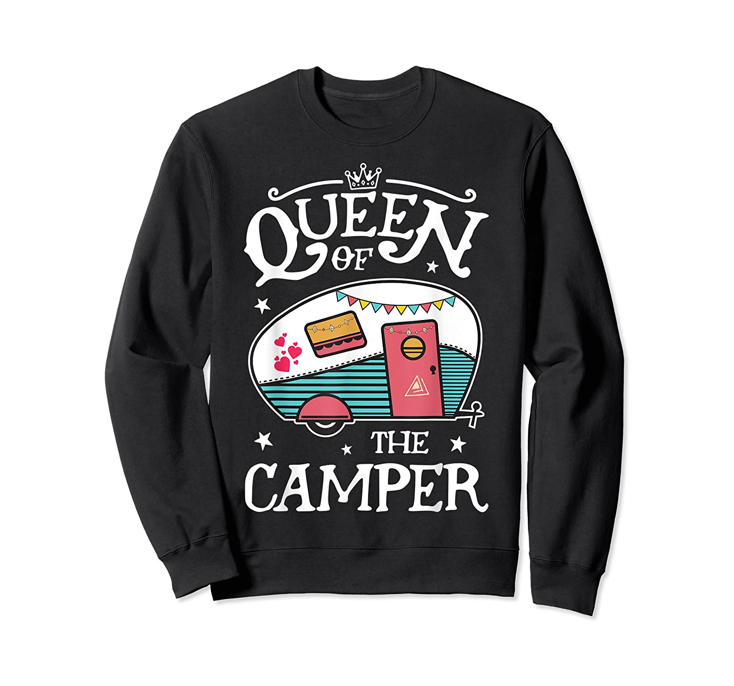 Queen Of The Camper Outdoor Camping Camper Girls Shirts Crewneck Sweater