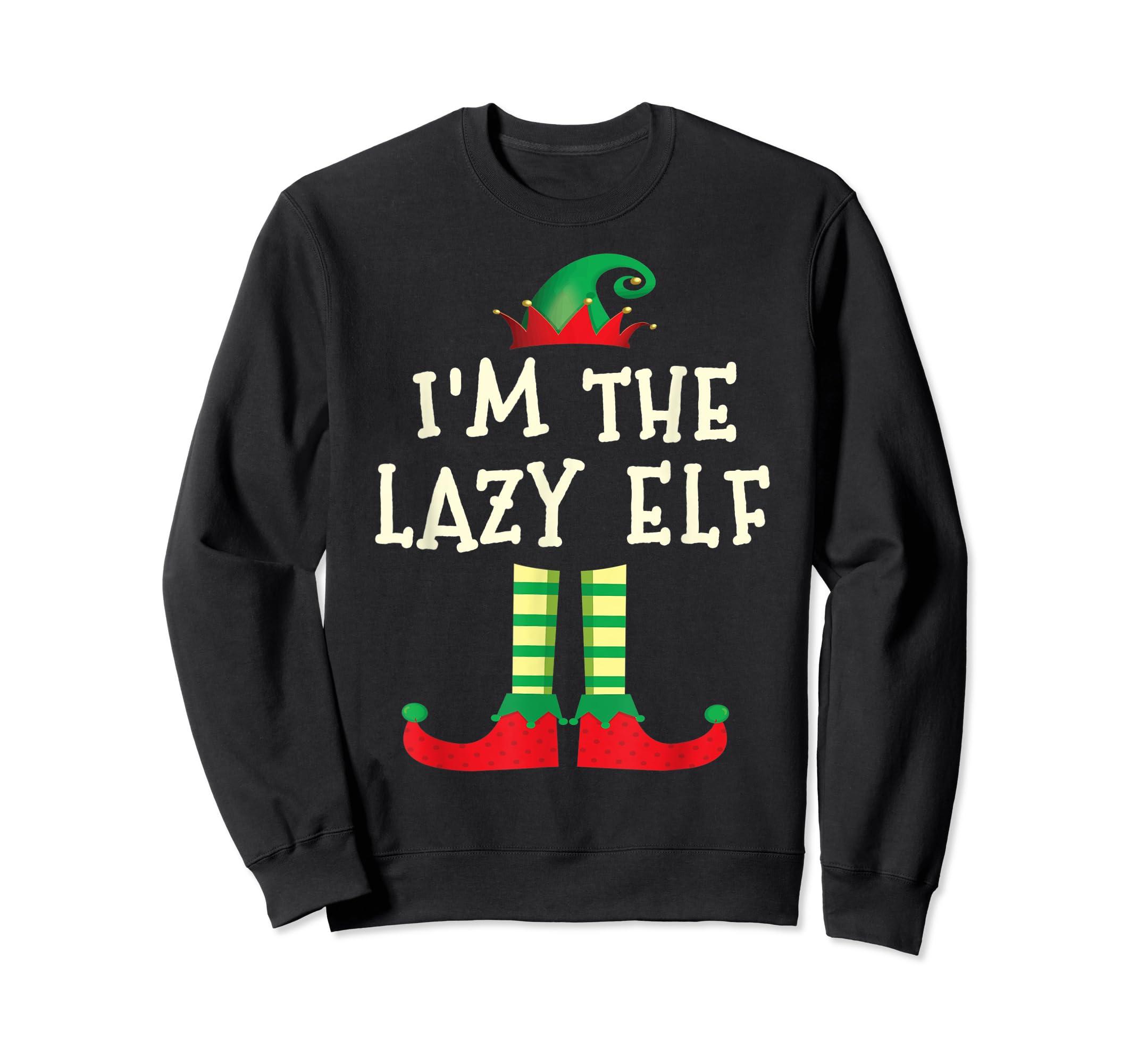 I'm The Lazy Elf Matching Family Elf Christmas T-Shirt-Sweatshirt-Black