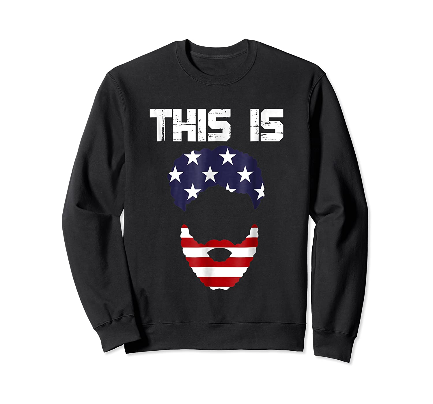 This Is American Beard T Shirt America Flag 4th July Crewneck Sweater