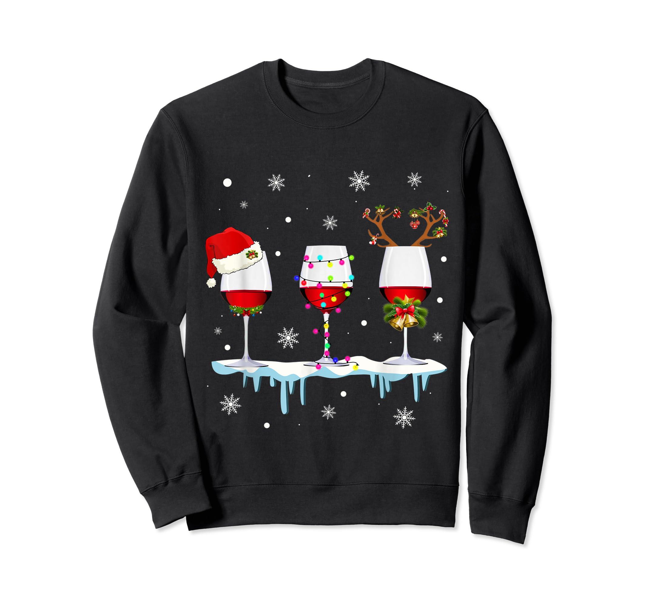 Three Glass of Red Wine Santa Hat Christmas T-Shirt-Sweatshirt-Black