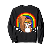 Squirrel Gay Pride Rainbow Q Cute Gift Shirts Sweatshirt Black