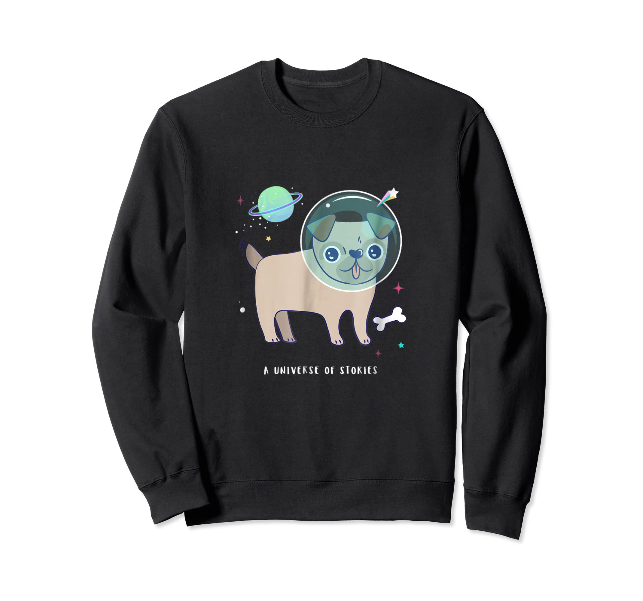Summer Reading Funny Space Pug Librarian Gift T-Shirt-Sweatshirt-Black