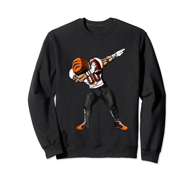 Football Dabbing T Shirt Funny Black Orange  Crewneck Sweater